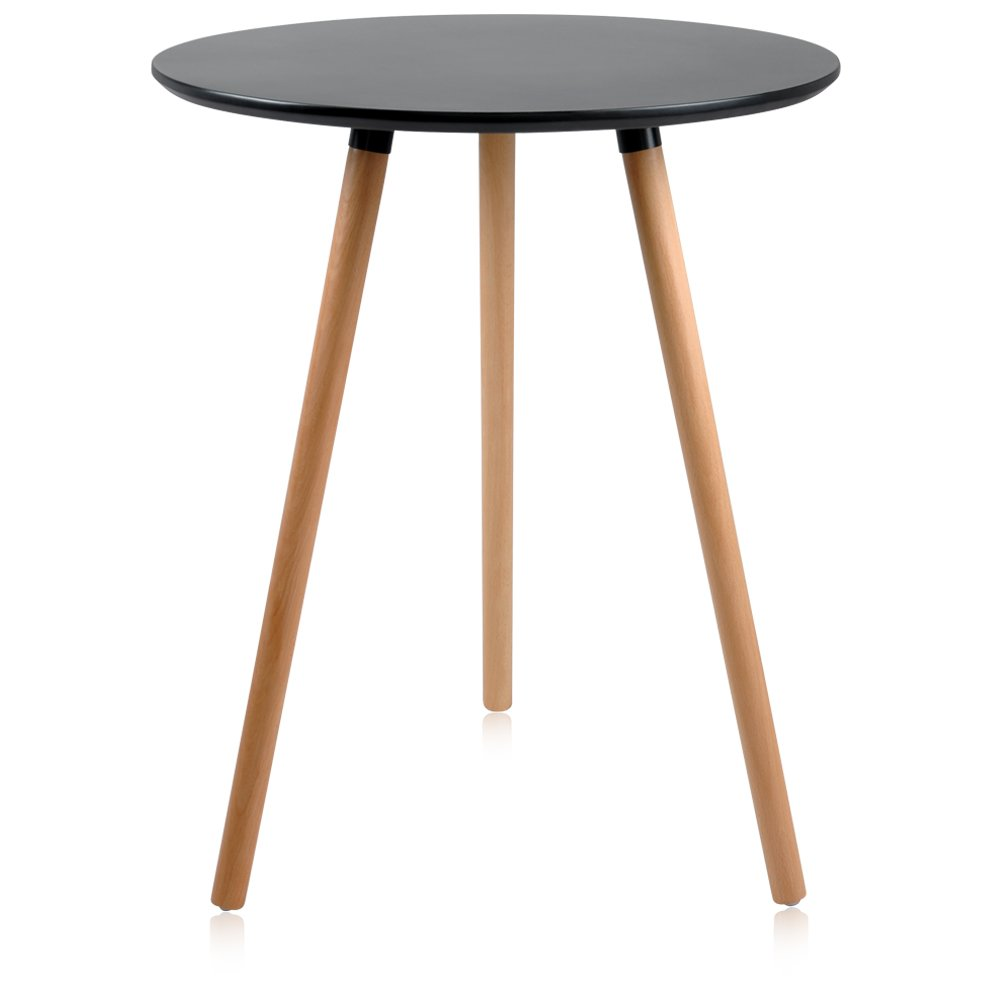 Krei Hejmo Round Dining Table with Wood Legs LINIO (Black)