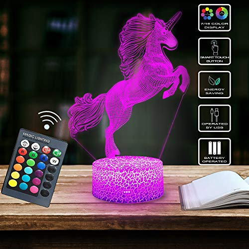 Shellvcase 3D Unicorn Night Light Bedside Table Lamp 7 Colors Change Remote & Touch Control Kids Night Light Optical Illusion Lamp As Christmas Birthday Gift Home Decor Lights (Unicorn)
