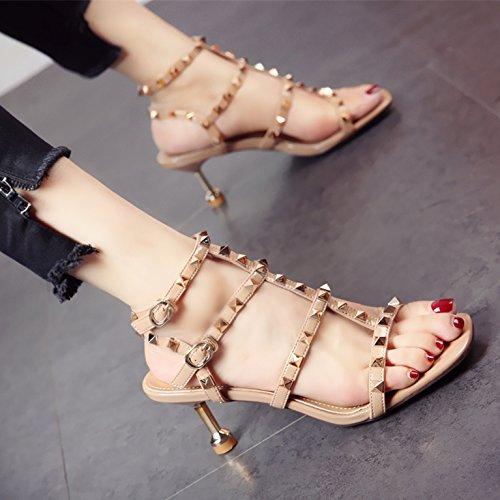 de Europeo Sexy Remache Sexy Lady Zapatos Toe c Sandalias Temperamento Moda YMFIE Verano Comfort tacón de Rocío Cwq665