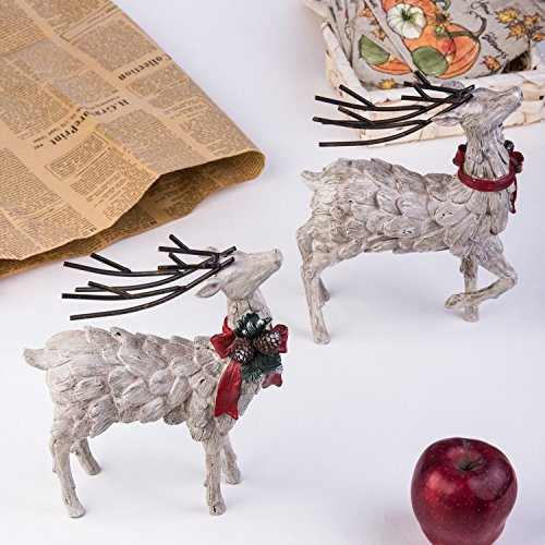 CEDAR HOME Resin Holiday Figurine Decorative Christmas Deer Tabletop Statue Decor, 2 Pack