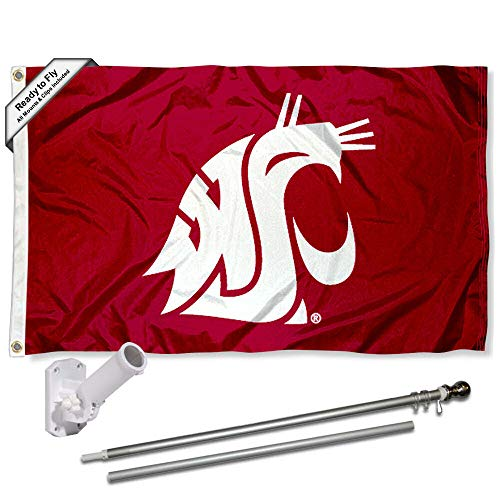 (Washington State Cougars Wave The Flag Flag with Pole and Bracket Kit)