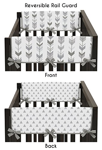 Sweet Jojo Designs 2-Piece Grey Side Crib Rail Guards Baby Teething Cover Protector Wrap for Woodland Arrow Collection by by Sweet Jojo Designs (Image #3)