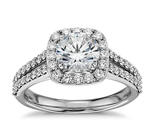 CUSHION HALO ROUND DVVS 1.18CT SIMULATED DIAMOND SOLID 10K WHITE GOLD ENGAGEMENT WEDDING RING, US SIZE 6