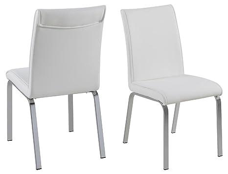 Sedie Schienale Alto Ecopelle : Fads homestyle leonora sedie in ecopelle colore: bianco con
