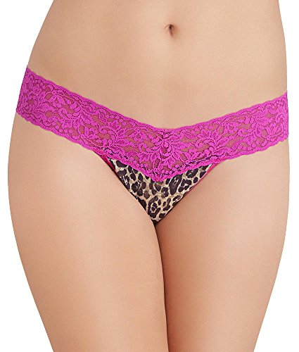 Hanky Panky Signature Lace Petite Leopard Low Rise Thong, One Size, Brown / Sour Cherry