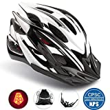 Basecamp Specialized Bike Helmet with Safety Light,Adjustable Cycling Helmet Bicycle Helmet with Removable Visor+Portable Backpack for Road&Mountain Men&Women,Youth Protection(Blackwhite-BigLight)