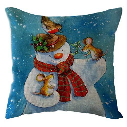 Littay The Best Gift Santa Claus Pillow Case Linen Sofa Throw Cushion Cover Home Decor -