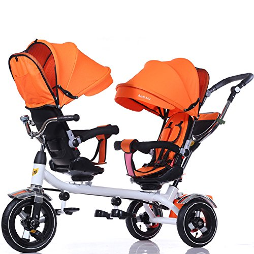 OLizee Baby Kids Toddler Twins Double Seats Tricycle Stroller Ride-On Trike(Orange)