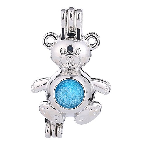Three Fish 10Pcs Stainless Steel Tones Wish Bead Cage Pendant - Add Your Own Pearls, Stones, Rock to Cage,Add Perfume Essential Oils Diffusing Pendant Charms. - Bear Cage