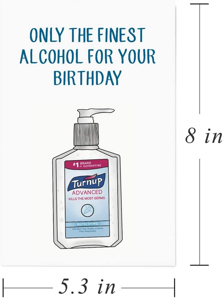 Amazon Com Alcohol Quarantine Card Social Distancing Cards Funny Birthday Card For Him Her Friend Office Products