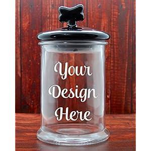 Custom Dog Treat Jar with Black Ceramic Dog Bone Lid - Glass Etched Personalized Cat Treat Jar - Pet Treat Jar - Large