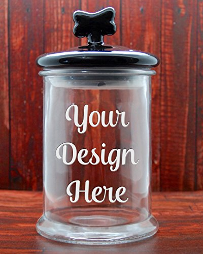 - Custom Dog Treat Jar with Black Ceramic Dog Bone Lid - Glass Etched Personalized Cat Treat Jar - Pet Treat Jar - Large