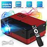 1080 Projector Screen - Wsky Portable Home Theater Video Projector - Newest 2019 3000Lux HD Video Projector - Support 1080P 1920x1080 Resolution - Perfect for Watching Movies Home Entertainment or Gift Giving (Red)