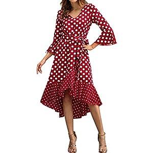 AUDATE Women's Ruffles Sleeve Polka Dot Dress Vintage V Neck High Low Hem Front Tie Midi Dress