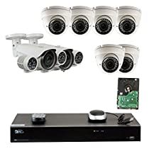 8 Channel H.265 4K NVR 4 M Network Security Camera System - 2 x 6~50mm IR Lens, 8 Pieces super high power IR LED and 6 x 2.8-12mm IR Lens, 36Pcs IR LED with 4TB Hard Drive