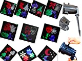 Halloween Projector, Ucharge Rotating Led Projection Light Snowflake Spotlight, Multi 10pcs Slides Landscapke Led Light Show Xmas Shower for Holiday, Party, Wall, Halloween Decoration