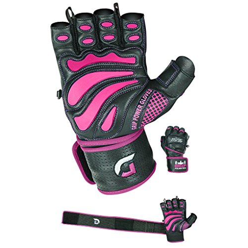 Women Elite Leather Gym Gloves with Built in 2 Wide Wrist Wraps Design for Weight Lifting, Power Lifting, Bodybuilding & Strength Training Workout Exercises (Pink, Medium)