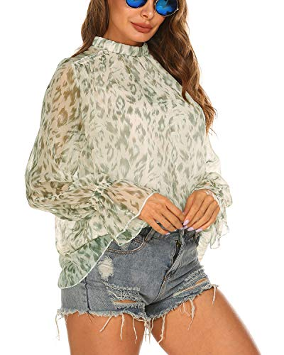 Womens Tops and Blouses,Women's Floral Ruffle Shoulder Chiffon Top Double Layers Keyhole Blouse Tunic (S, Silver)
