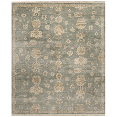 Safavieh Oushak Collection OSH751B Hand-Knotted Blue and Ivory Wool Area Rug (6' x 9')