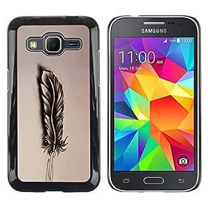 KOKO CASE / Samsung Galaxy Core Prime SM-G360 / pluma lápiz de dibujo sombra del arte del pájaro / Delgado Negro Plástico caso cubierta Shell Armor Funda Case Cover