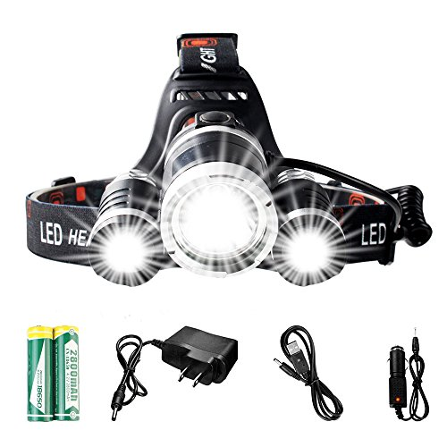 Usell 4 Modes LED Headlamp Waterproof Headlight ,Adjustable headband and 90 Lamp Base with Rechargeable Batteries Car Charger USB Cable for Runners Kids Reading Hiking Riding Fishing Camping Hunting