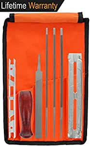 "Drixet Chainsaw Sharpener & Filing Kit – Includes: 5/32"", 3/16"" & 7/32 Inch Round Files, Flat File, Depth Gauge, Filing Guide, Handle, Tool Pouch, Combo 8-Piece Pack with Sharpening Instructions"