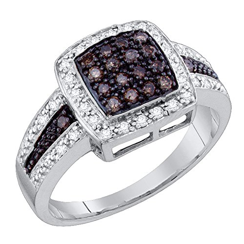 Pave Diamond Right Hand Ring - 0.53 Carat (ctw) 10K White Gold White And Champagne Diamond Bridal Micro Pave Right Hand Ring 1/2 CT