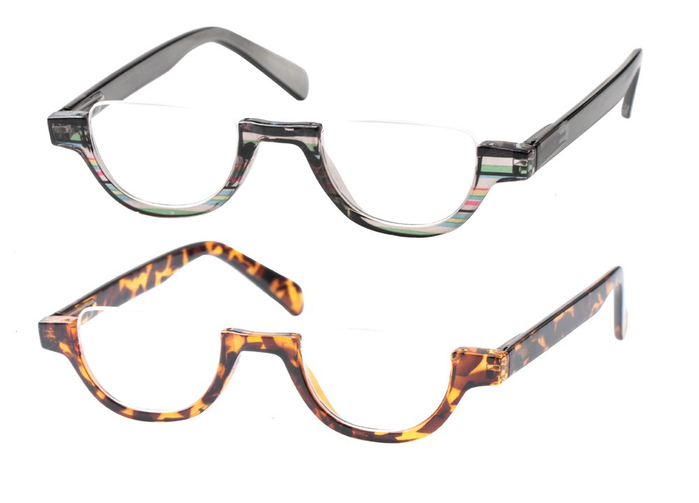 SOOLALA Womens Modern Designer Flat Top 42mm Half Lens Quality Reading Glasses, GrayLeopard, 2.75 by SOOLALA