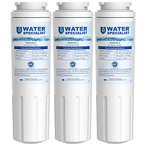 Waterspecialist NSF 53&42 Certified UKF8001 Refrigerator Water Filter, Replacement for Maytag UKF8001P, Whirlpool EDR4RXD1 EveryDrop Filter 4 PUR 4396395 Puriclean II UKF8001AXX-200 469006 (Pack of 3)