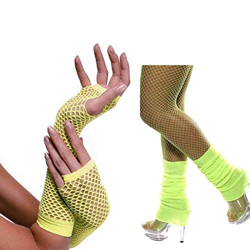 80s Accessories Women Fancy Outfit Set,Headband,Earrings,Gloves,Bracelets,Fishnet,Leg Warmers (Neon Yellow)]()