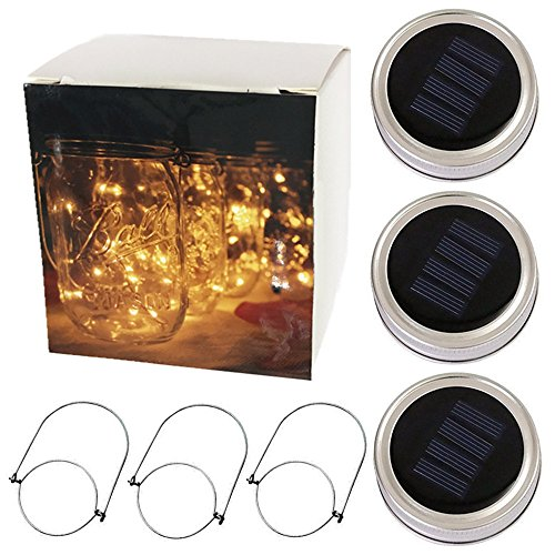 CHBKT Solar-powered Mason Jar Lights,10 Bulbs Warn White Jar Hanging Light,Garden Outdoor Solar Lanterns,Hanging Lantern,Solar Lantern,Starry String