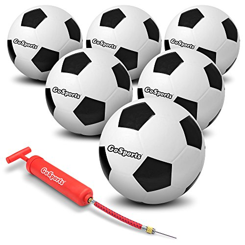 GoSports Rubber Soccer Ball 6 Pack - Includes Bonus Premium Ball Pump & Mesh Carry Bag ()