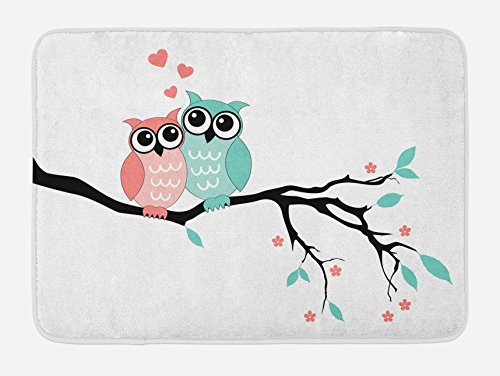 Ambesonne Teal and White Bath Mat, Owl Couple Sitting on Tree Branch Valentines Romance Love, Plush Bathroom Decor Mat with Non Slip Backing, 29.5