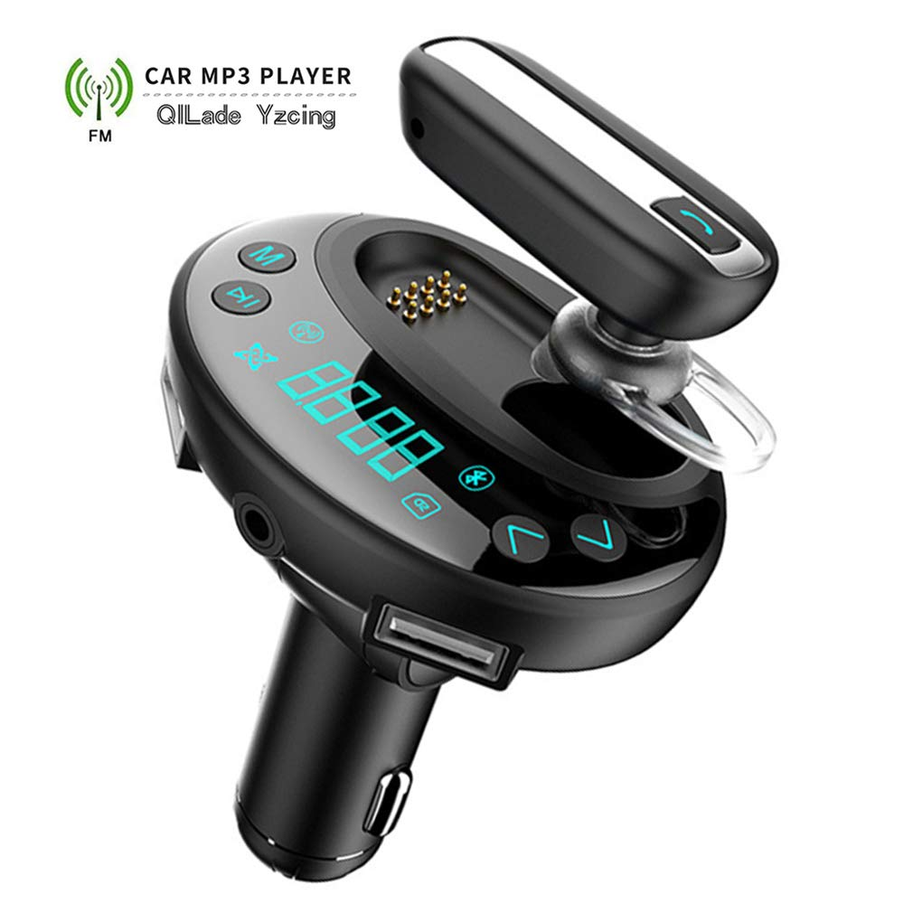QILade Yzcing FM Transmitter Car,Bluetooth with Separable Earphone Hands-Free Call Car FM Transmitter Kit with Dual USB Charger Ports MP3 Player Support USB Flash Disk TF Card