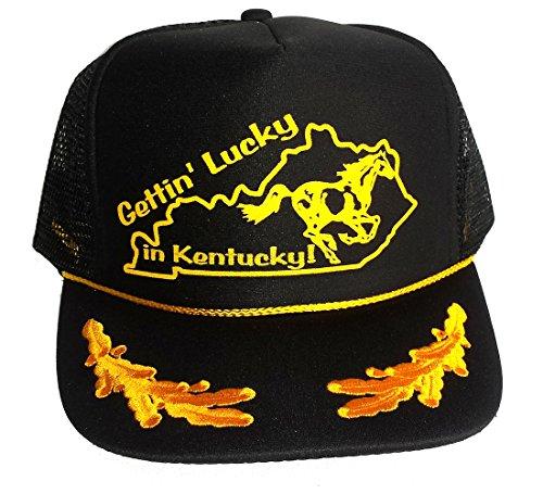 (ThatsRad Gettin' Lucky In Kentucky Mesh Snapback Trucker Hat Cap Gold Leaf Captain)