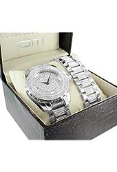 Diamond & Co Men's Iced Out Analog Japan Quartz White Watch & Bracelet Set