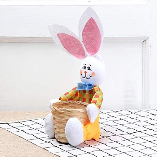 HHmei Cute Bunny Easter Basket Eggs Candy Gifts Storage Rabbit Bag Party Decoration Rabbit Basket (Yellow)