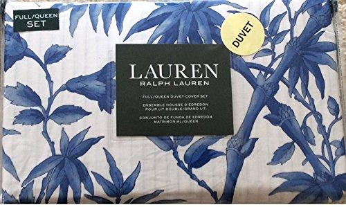 Ralph Lauren 3 Piece Duvet Cover Set Blue & White Vines Pattern Full/Queen (Set Ralph Lauren Duvet)