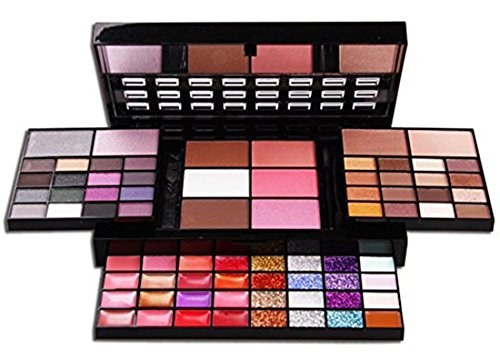 (Pure Vie Professional 74 Colors Eyeshadow Concealer Blush Lip Gloss Palette Makeup Contouring Kit)