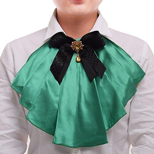 - BLESSUME Victorian Chiffon Jabot Neck 1pc (Green & Black)