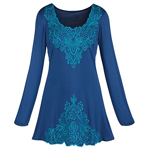 Women's Tunic Top - Tone-On-Tone Blue Embroidered Shirt - 2X