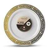 Laura Stein Designer Tableware Premium Heavyweight 6'' Inch White And Gold Rim Plastic Party & Wedding Plates Serviette Series Disposable Dishes Pack of 40 Party Plates