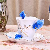 Coffee Cup ceramic creative European style bone China tea cups and saucers English afternoon tea black tea tea,Light blue