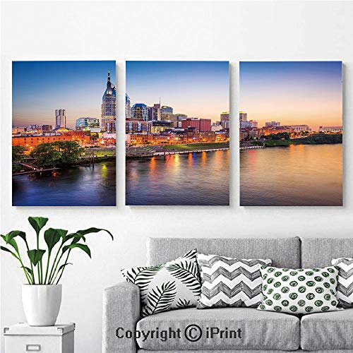 Canvas Prints Modern Art Framed Wall Mural Cumberland River Nashville Tennessee Evening Architecture Travel Destination for Home Decor 3 Panels,Wall Decorations for Living Room Bedroom Dining Room B