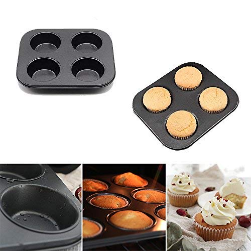 MZCH Non-stick Muffin Pan 4 Cups Cupcake Baking Pans Mini Cake Baking Mold, Black
