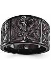 Edward Mirell Black Ti Flat Casted Design 14mm Ring Size 10