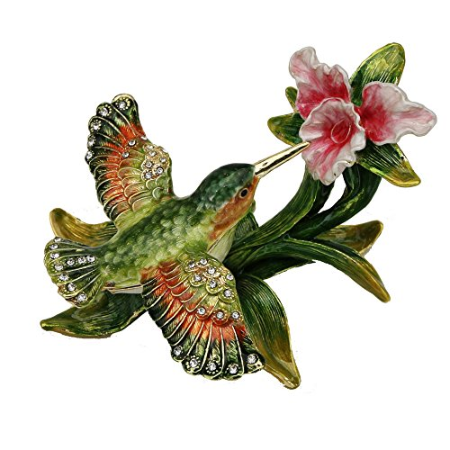 (Sparkling Collectibles Flying Hummingbird Pewter Figurine Box - Swarovski Crystals, Hummingbird Figurine, Jewelry)