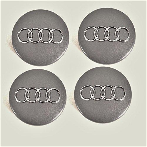 Moyeu 4b0601170Capuchons pour Audi, Kit 4pièces Gris de Mett Alic Lot de 60mm Jeu de 4x, Enjoliveur Jante Couvercle Jante Capuchon