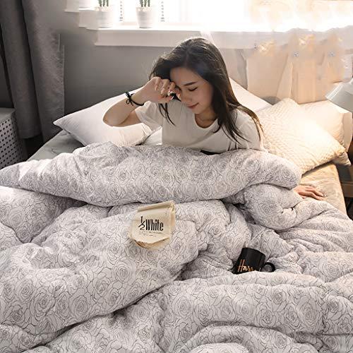 寝具キルト厚い暖かく薄くて軽い秋と冬の羽毛布団シングル学生寮クイーンサイズ - 低刺激性のシンプルなフローラルパターン