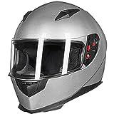 ILM Full Face Motorcycle Street Bike Helmet with Removable Winter Neck Scarf + 2 Visors DOT (S, Silver)